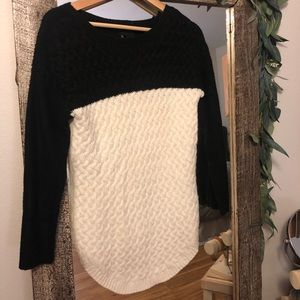 White and Black Knit Sweater (petite small)